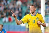 Marcus Berg firar sitt mål mot Bulgarien.