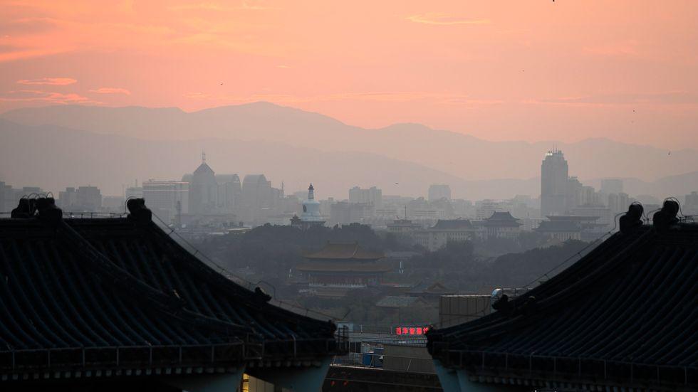 Smogen ligger tät över Peking.
