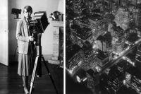 """Berenice Abbott (1898–1991). Till höger """"Nightview, New York"""" från 1932."""
