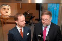 Gustav Kasselstrand, partiledare för Alternativ för Sverige, och Mikael Jansson, avhoppande sverigedemokrat och tidigare partiledare för SD.