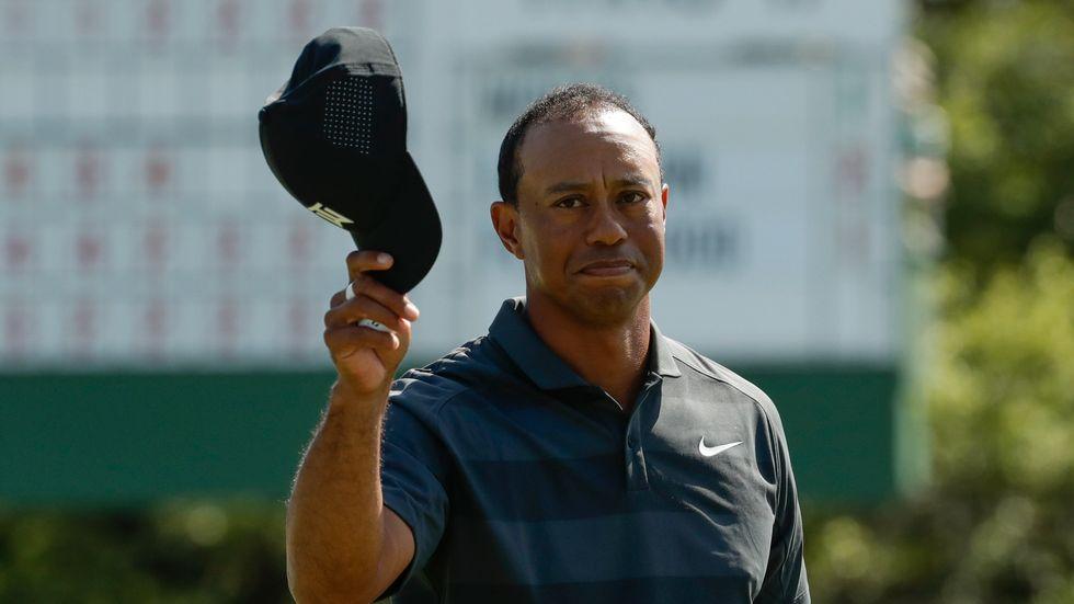 Tiger Woods på 18:e hålet under första rundan i Augusta.