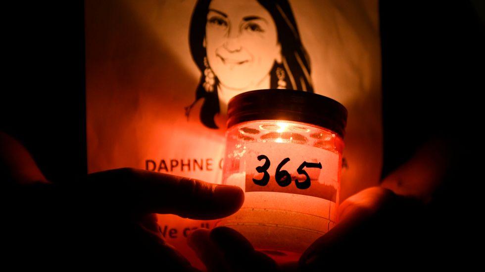 Minnesstund 2018 för den maltesiska bloggaren och journalisten Daphne Caruana Galizia som sprängdes ihjäl av en bilbomb i oktober 2017. Arkivfoto.