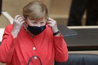 Angela Merkel i samband med sitt tal i Berlin på fredagen.