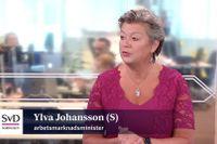 Arbetsmarknadsminister Ylva Johansson (S) i Ekonomistudion torsdag.