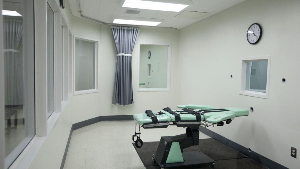 Avrättningskammare på delstatsfängelset San Quentin i Kalifornien, USA. Arkivbild.