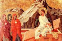 Maria från Magdala och de andra kvinnorna kommer till Jesu grav och finner den öppen och tom.