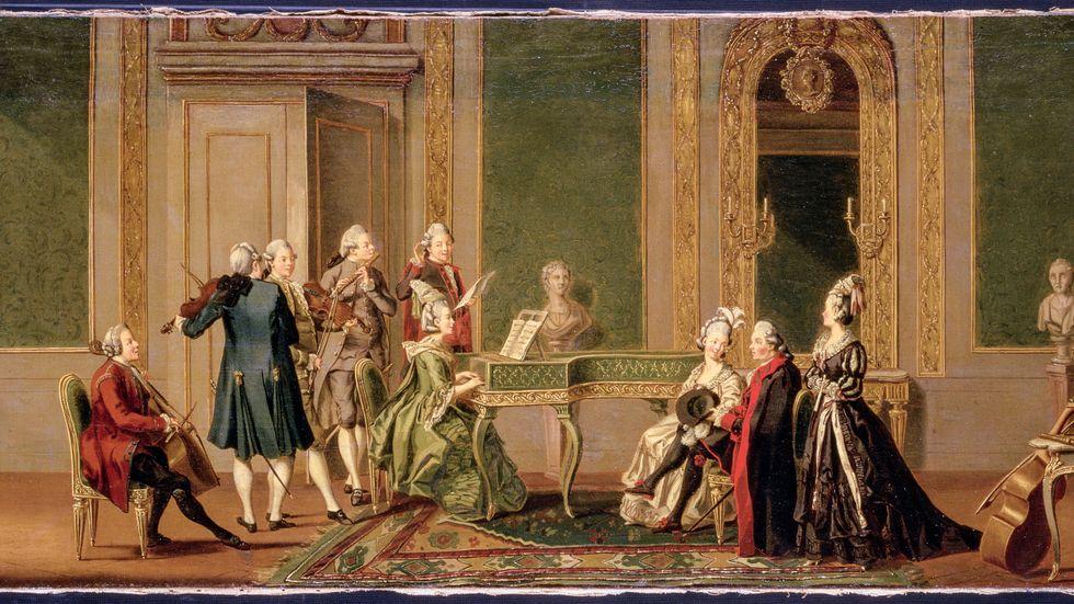 """Pehr Hilleström: """"Gustaviansk interiör med musicerande sällskap"""" från senare delen av 1700-talet."""