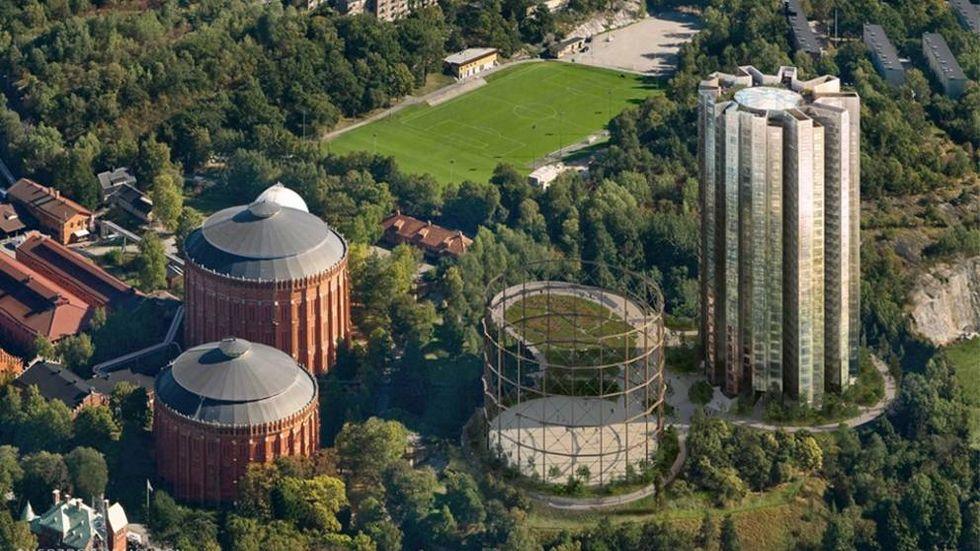 Höghuset till höger skulle Oscar Properties bygga, men enligt Stockholms stad finns inget avtal längre och markförsäljningen ska göras om.