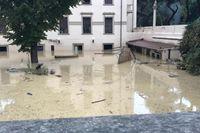 En översvämmad trädgård i Livorno.
