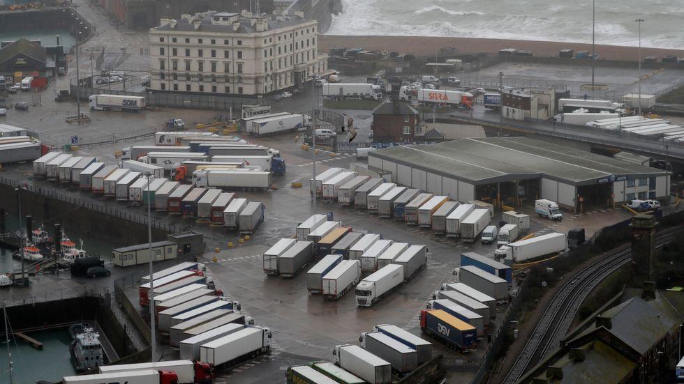 Det är brist på lastbilschaufförer i Storbritannien, men det är svårt att få in utländsk arbetskraft till landet. Bilden föreställer hamnen i Dover. Arkivbild.
