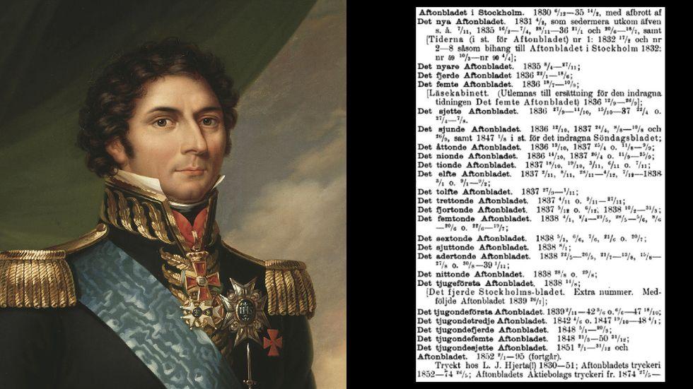 Kung Karl XIV Johan försökte förbjuda Aftonbladet. Men tidningen bytte namn – 26 gånger! – och kom ut på nytt.