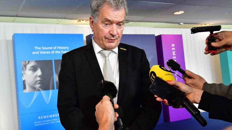 Finlands president Sauli Niinistö på plats vid Malmöforumet under onsdagen.