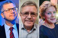Kent Persson, M, Carl B Hamilton, FP och Maria Larsson, KD.