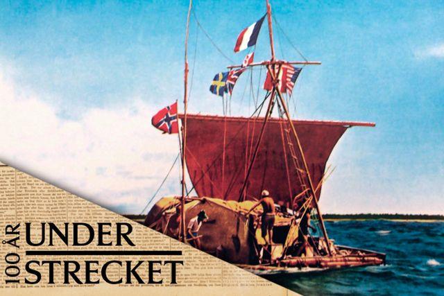Thor Heyerdahl ombord på Kon-Tiki 1947.