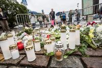 Den avspärrade platsen på Salutorget i Åbo där flera personer knivhöggs i en terrorattack i centrala Åbo. Arkivbild.