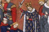 Johan II av Frankrike dubbar sina riddare.