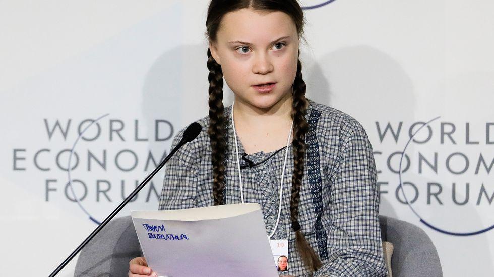 Greta Thunberg i ett tal på Världsekonomiskt forum i Davos förra året. I år medverkar hon igen. Arkivbild