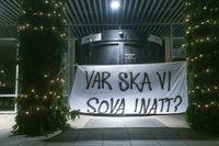 EU-migranter protesterade på tisdagen utanför stadshuset i Malmö.
