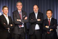 Jan Moström, vd på LKAB, Magnus Hall, vd på Vattenfall, Martin Lindqvist, vd på SSAB, och Martin Pei, teknisk direktör på SSAB.
