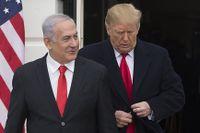 Israels premiärminister Benjamin Netanyahu och USA:s president Donald Trump vid ett möte i Washington den 25 mars i år. Strax efter mötet erkände Donald Trump Israels suveränitet över de ockuperade Golanhöjderna.
