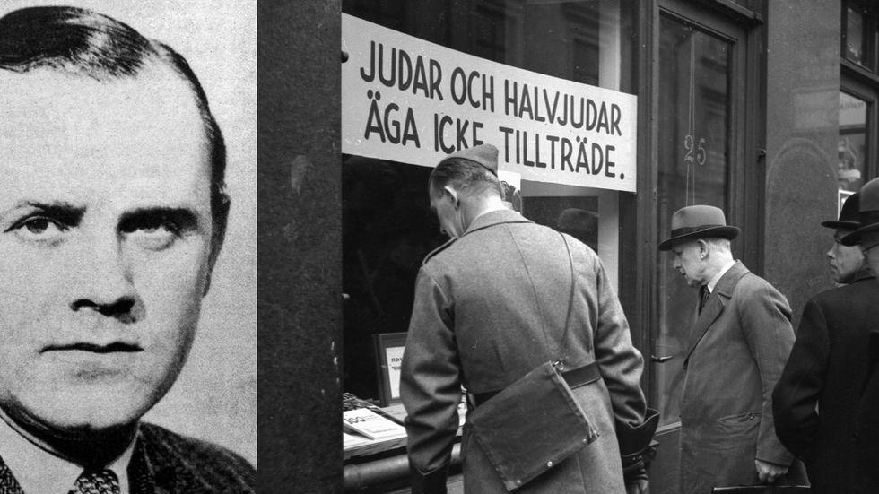 Herrmann Kappner och antisemitisk skyltning i en bokhandel i Stockholm 1941.
