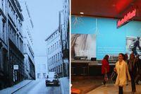Herkulesgatan 1965. Och samma plats 2015 –inne i Gallerian.