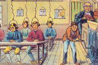 Skollektion anno 2000, fransk illustration från sekelskiftet 1900.