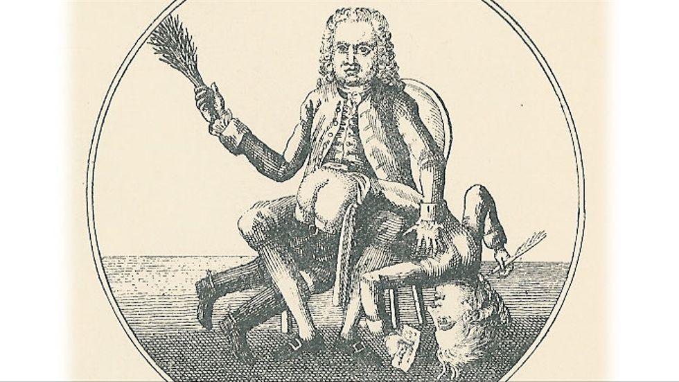 """""""En skribent får ris"""", dansk satirteckning inför återinförandet av censuren 1773."""