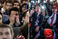 Anhängare av Hillary Clinton respektive Donald Trump under presidentvalsnatten.