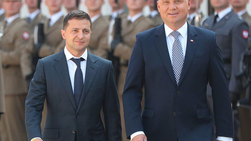 Ukrainas president Volodymyr Zelenskyj, till vänster, och polske kollegan Andrzej Duda, vill minska beroendet av rysk naturgas.