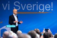 Dåvarande statsminister Fredrik Reinfeldt (M) när han sommartalade på Norrmalmstorg i Stockholm den 16 augusti 2014. Då hade han varit statsminister i åtta år, men skulle förlora regeringsmakten i valet några veckor senare.