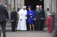 Påve Franciskus, drottning Silvia och kung Carl XVI Gustaf vid Kungshuset i Lund.