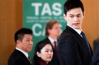 Sun Yang under ett förhör i Idrottens skiljedomstol förra året. Arkivbild.