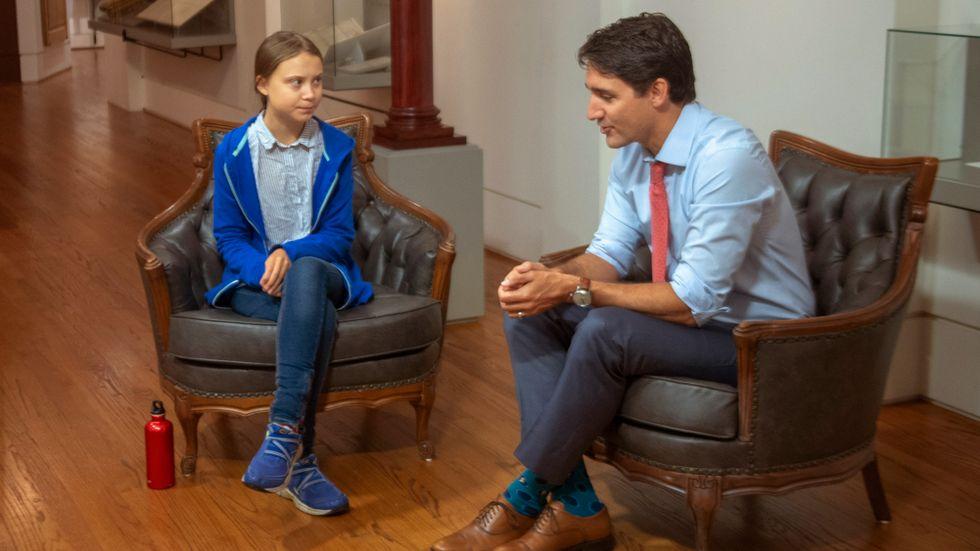 Greta Thunberg och Kanadas premiärminister Justin Trudeau träffades under fredagen.