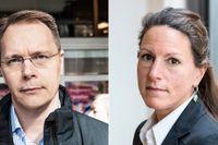 Joacim Olsson, Aktiespararnas vd, och Louise Brown, korruptionsexpert, reagerar starkt på FI-toppens avhopp till Handelsbanken.