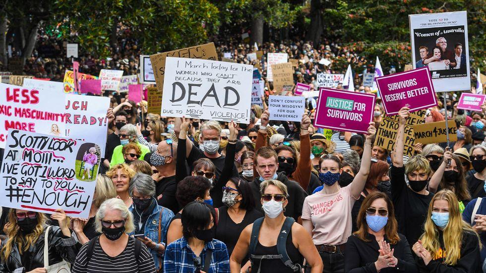 Protester i Melbourne, Australien.