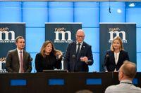 Moderaternas förslag till valsedel i valet till EU-parlamentet toppas av, från vänster, Tomas Tobé, Jessica Polfjärd, Jörgen Warborn samt Arba Kokalari.