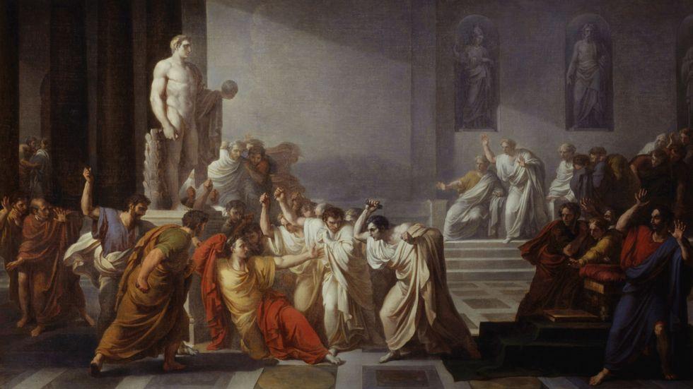Julius Caesars död, målning av Vincenzo Camuccini (1771–1844).