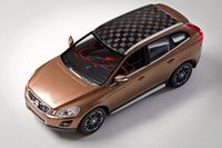 Modellbilen där taket och delar av batteriet består av ligninbaserad kolfiber.