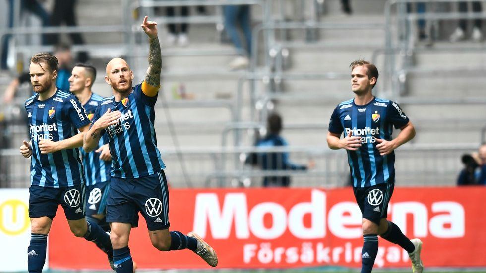 Djurgården jublar efter Magnus Erikssons 1-1-mål mot Hammarby.
