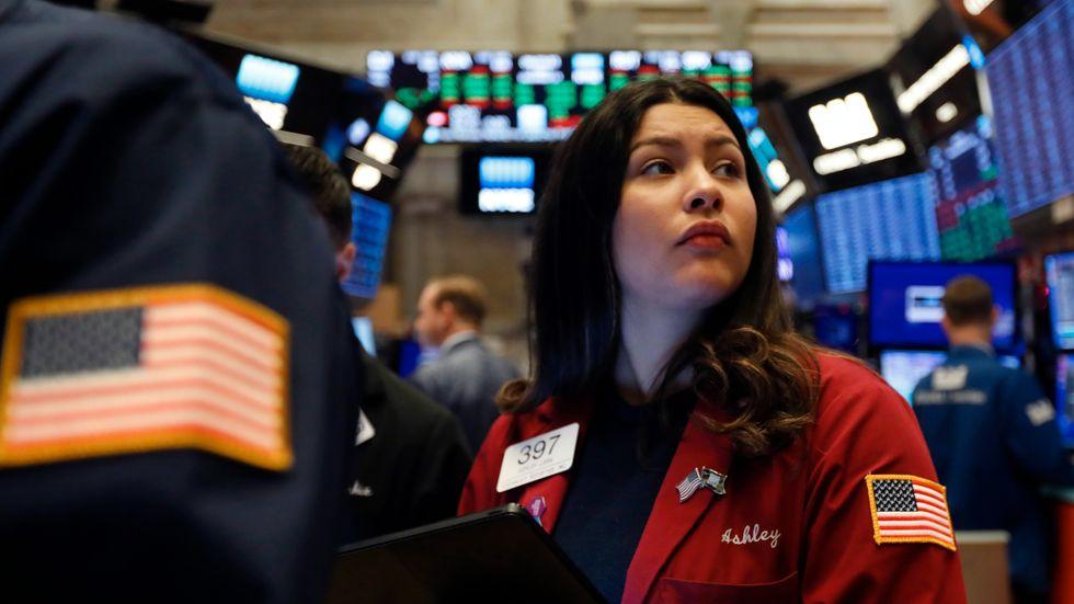 Börshandlaren Ashley Lara under ytterligare en rekorddag på Wall Street.