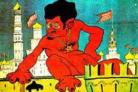 Karikatyr av Lev Trotskij på en propagandaaffisch från 1919.