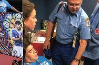 Den argentinska tidningen Clarín publicerade bilder på hur Diego Maradona fick läkarhjälp i VIP-rummet efter 2-1–segern. Någon timme tidigare var fotbollsikonen i extas på läktaren.