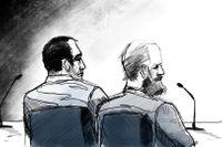 Illustration från rätten, Chihab Lamouri (till vänster) med sin advokat Filip Rydin under huvudförhandlingen.