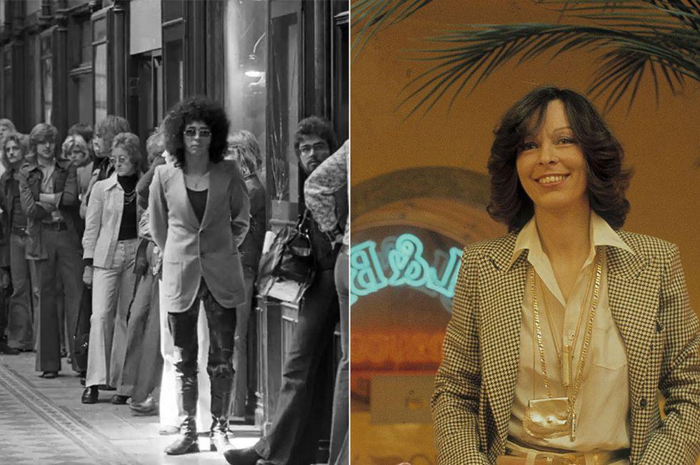 """Köerna ringlade långa i Birger Jarlspassagen på 1960-talet och 1970-talet – """"alla"""" ville ha inne-jeansen som hade skapats av Maria Knutsson (till höger)."""