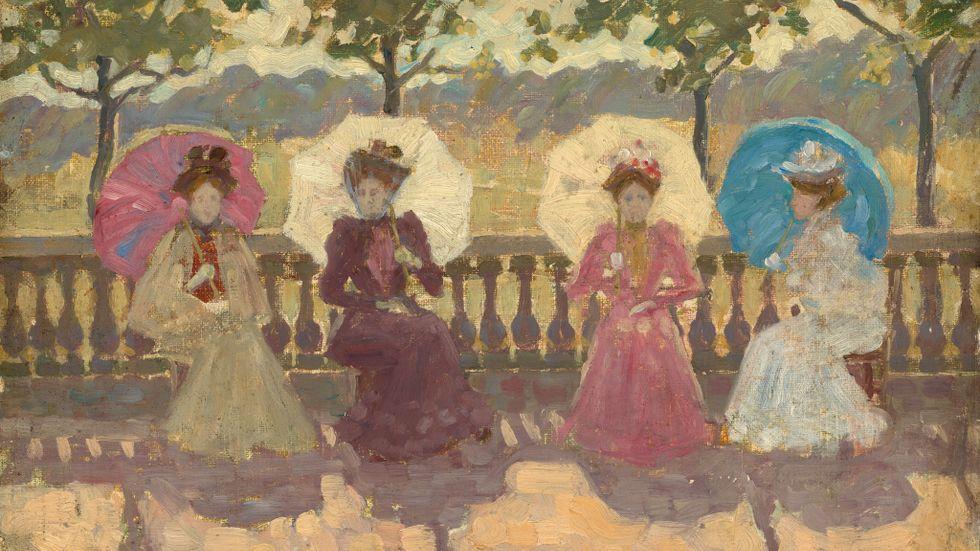 """I parken"", målning av Maurice Brazil Prendergast, 1891 ."