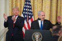 Presskonferens i Vita huset med USA:s president Donald Trump och Israels premiärminister Benjamin Netanyahu den 28 januari i år.