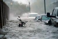 Översvämmade gator i Pensacola, Florida, på onsdagen.