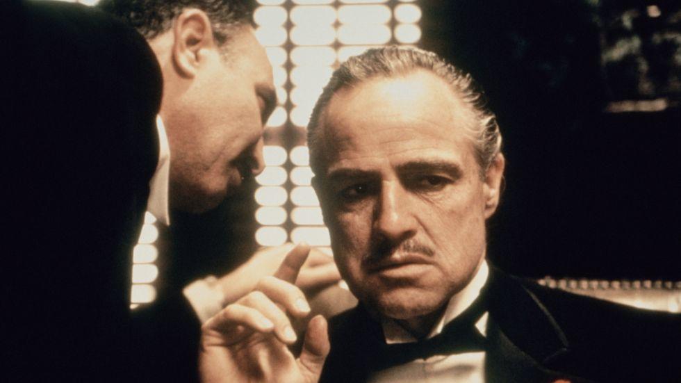 """Marlon Brando som maffialedare i Francis Ford Coppolas """"Gudfadern"""" från 1972."""