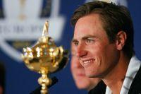 Sist in. Belgiens bidrag till Europas Ryder Cup-lag, Nicolas Colsaerts, på måndagens presskonferens i Gleneagles.